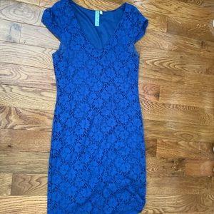 Royal blue v beck lace dress